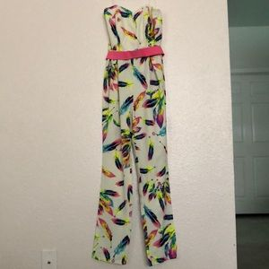 NWT Mustard Seed neon feather print jumpsuit